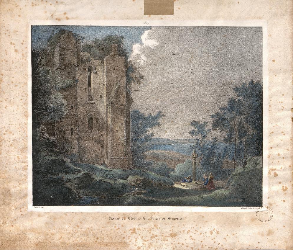 Claude Théinon, Ruines du clocher de l'église de Graville, 1821