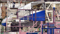 "serie ""Melting Power"" - Usine Alstom - Belfort - Photo n°3 - Halle Transport - 2009 -C-print - 180 x 227 cm - 100 x 126 cm - 5 ex. de chaque"
