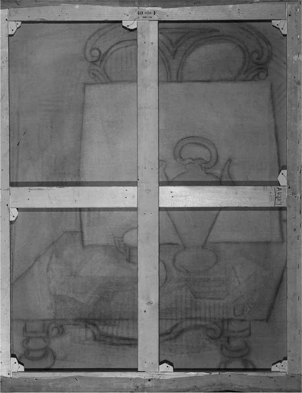 Image infrarouge du revers de la Nature morte de Picasso
