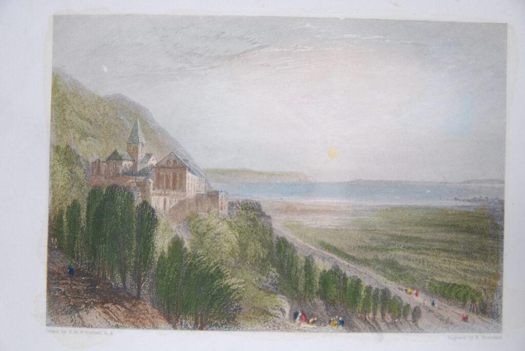 L'abbaye de Graville Dessin de Joseph Mallord William TURNER (1775-1861), gravure de Robert BRANDARD (1805-1862)
