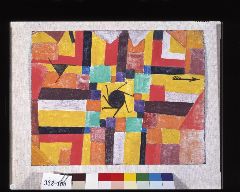Musée Granet- Paul Klee, Mit der rotierenden schwarzen Sonne und dem Pfeile, 1919