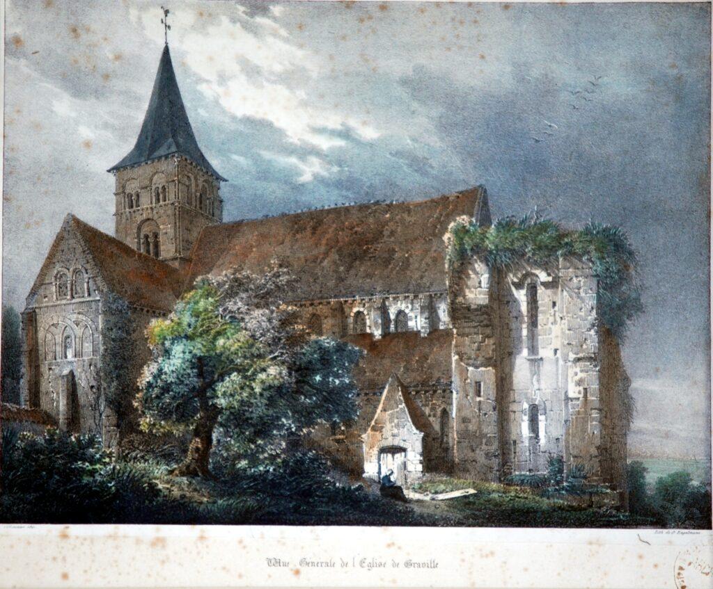 Louis Frédéric Villeneuve, Vue générale église de Graville, 1821
