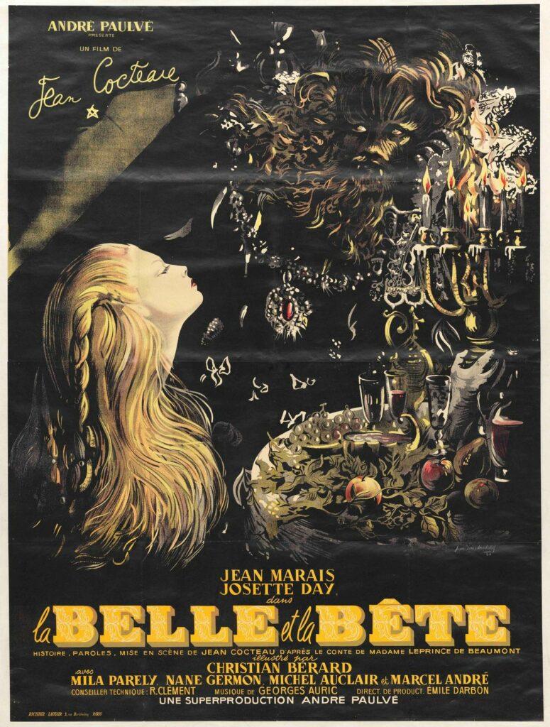 La Belle et la Bête, Jean Cocteau, 1946, affiche de Jean-Denis Malclès.