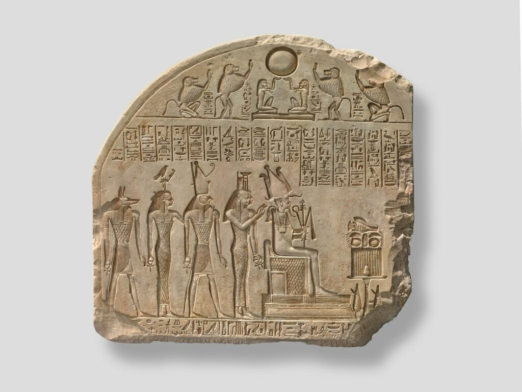 Fragment de stèle à Osiris et aux divinités associées Probablement règne de SéthiIer (vers 1294-1279 avant J.-C.)