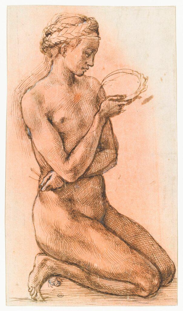 Michel-Ange, Femme nue agenouillée, tenant une couronne et des clous