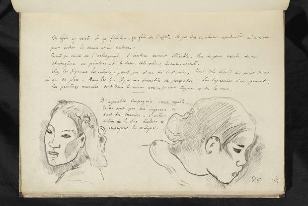 Ce cahier de 1903 renferme des dessins et des écrits de Gauguin
