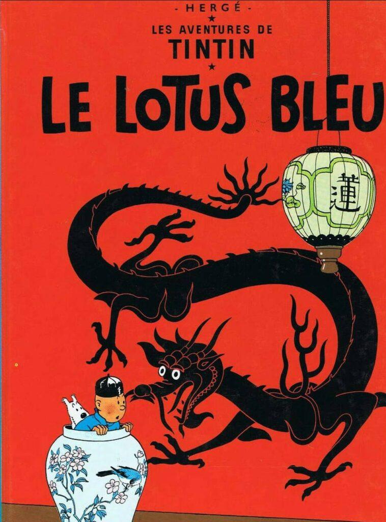 """Couverture officielle du """"Lotus bleu"""" d'Hergé, 1936"""