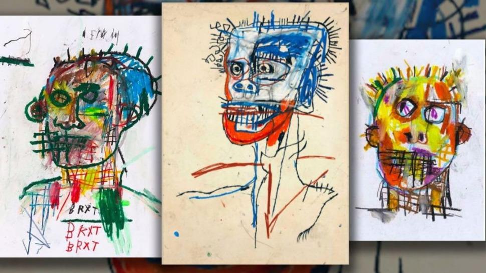 Au centre, une oeuvre authentique de Jean-Michel Basquiat, entourée de deux dessins exposés à la galerie Volcano