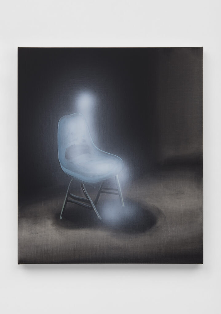 Tala Madani, Ghost sitter (blue chair)