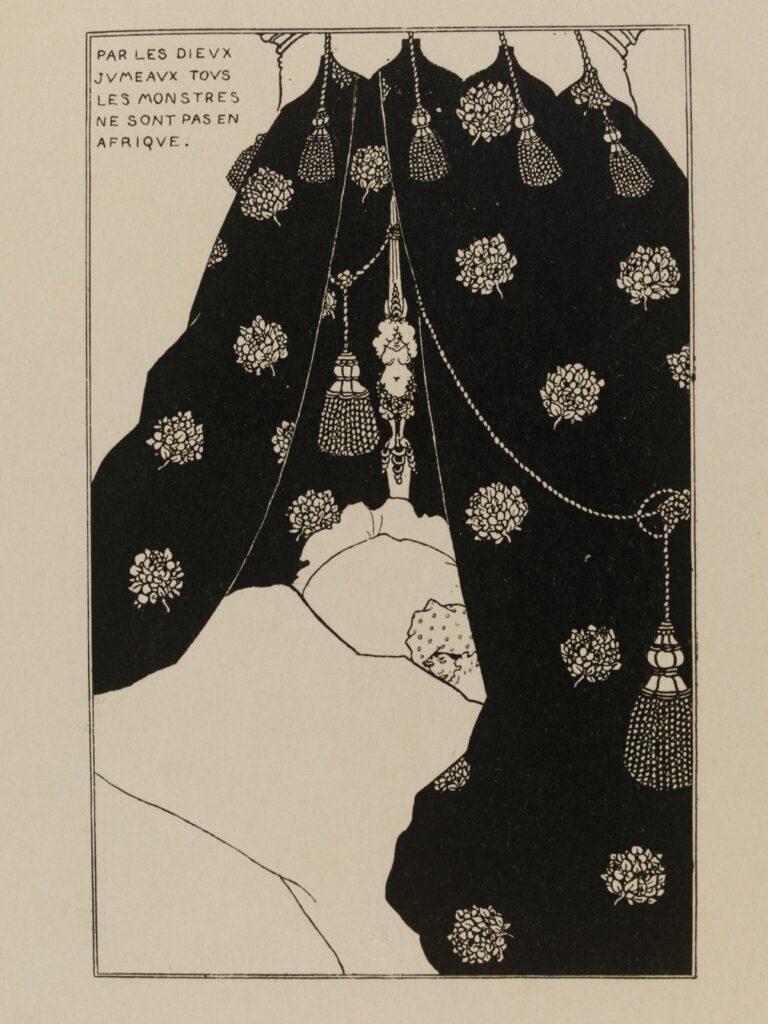 Aubrey Beardsley (1872-1898), Autoportrait au lit, 1894