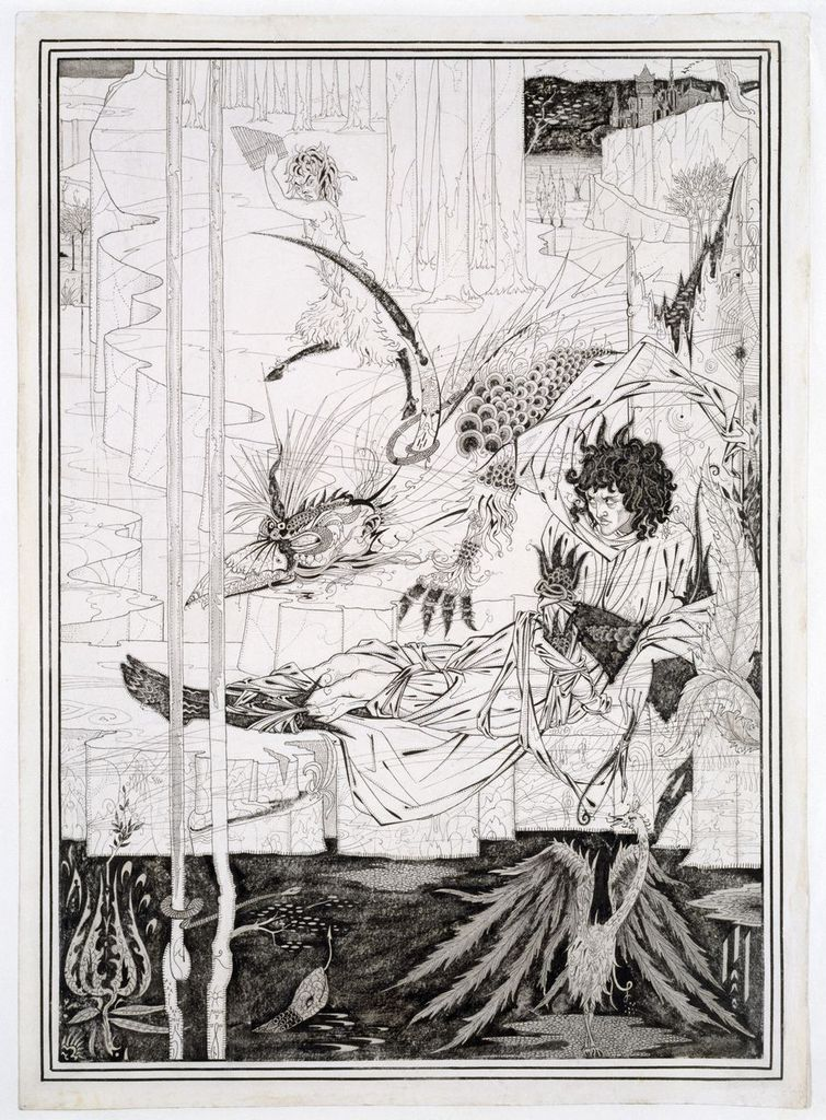Aubrey Beardsley, How King Arthur Saw the Questing Beast, and thereof had Great Marvel, 1893