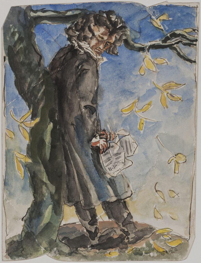 Antoine Bourdelle, Beethoven. Crayon au graphite et aquarelle sur papier.