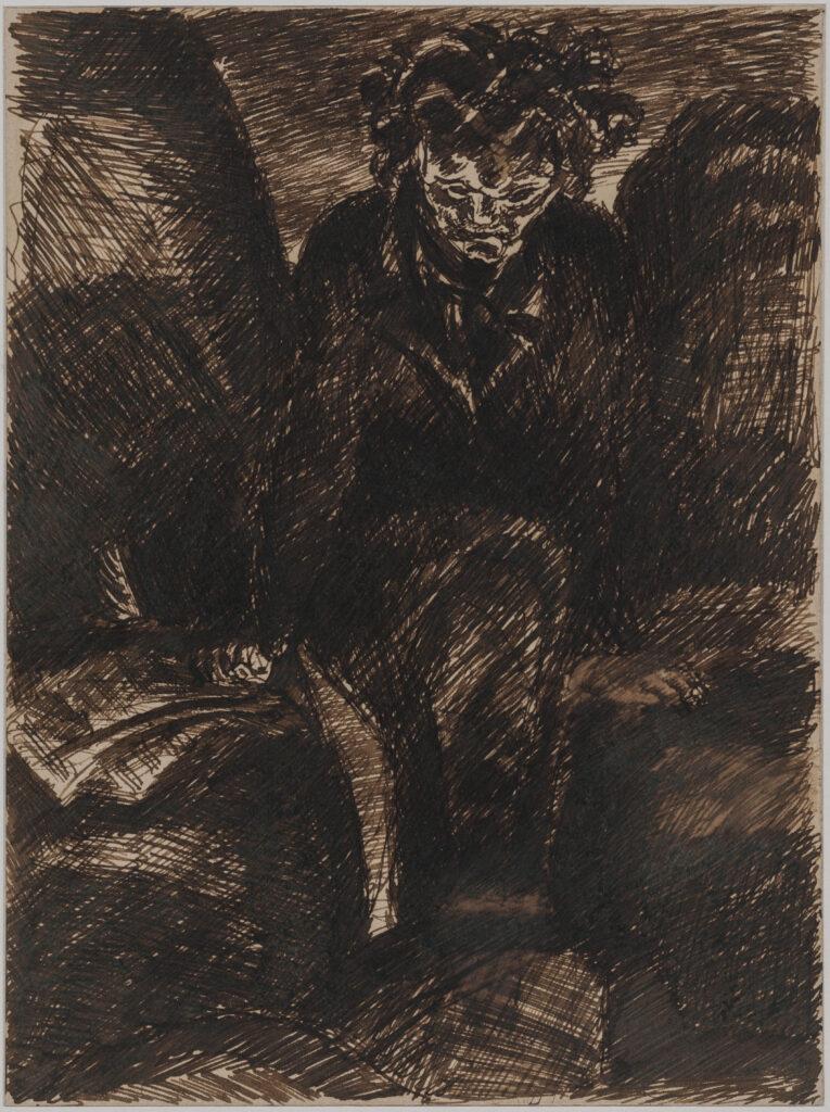 Antoine Bourdelle, Beethoven. Plume et encre brune sur papier, vers 1922