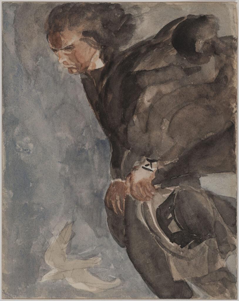 Antoine Bourdelle, Beethoven. Crayon au graphite et aquarelle sur papier