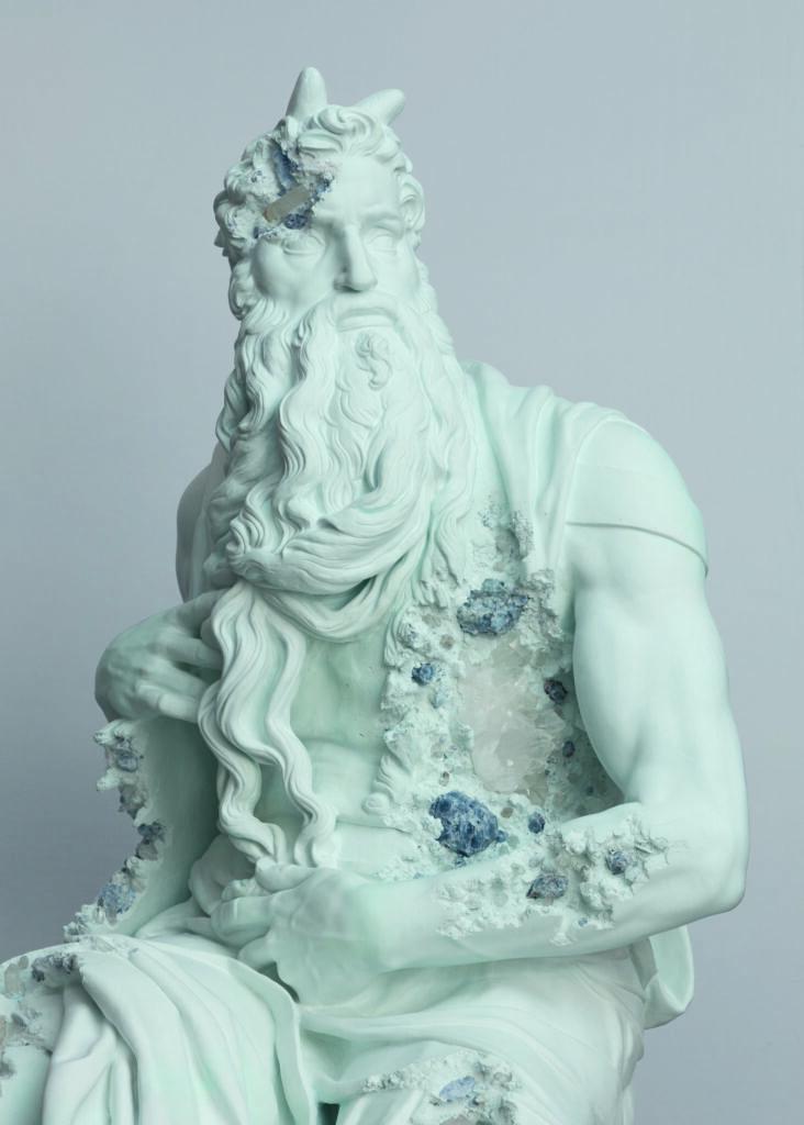 Daniel Arsham, Blue Calcite Eroded Moses (details) 2019