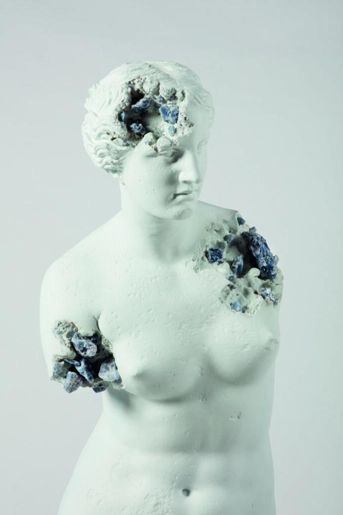 Daniel Arsham, Blue Calcite Eroded Venus of Milo (details), 2019