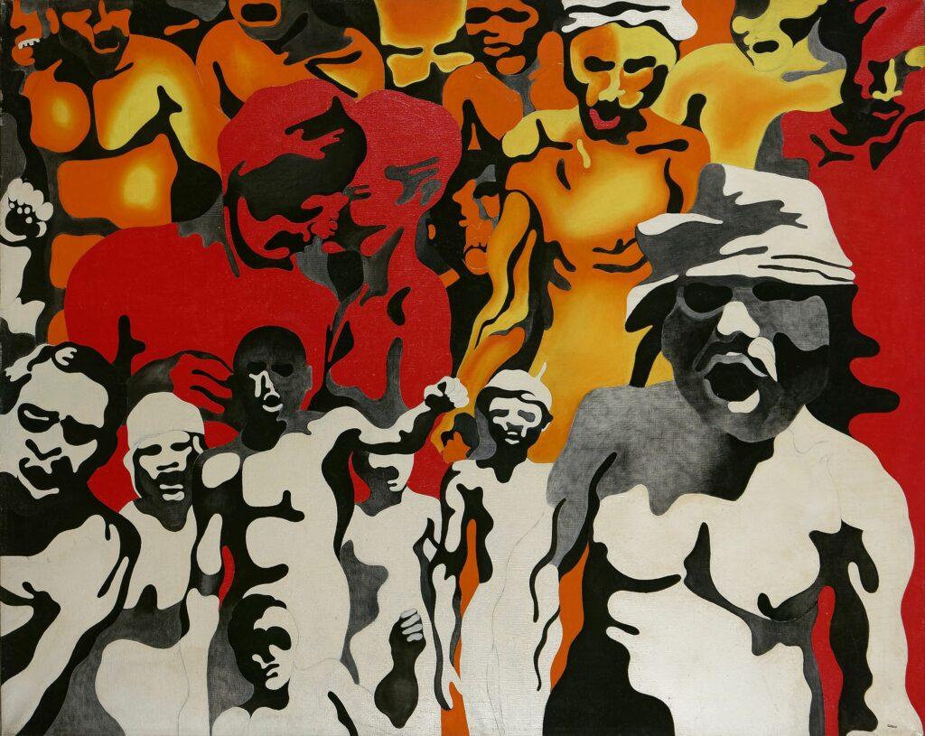 Henri Cueco, Manifestation au couple d'amoureux, 1968-70
