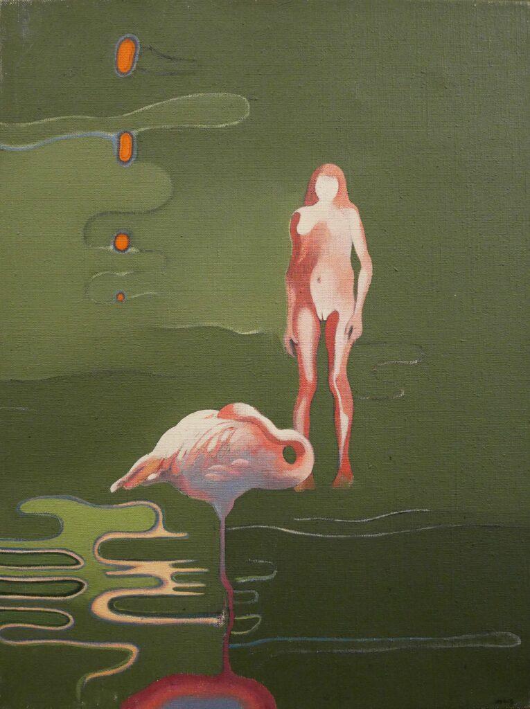 Henri Cueco, Femme et flamant rose, 1967