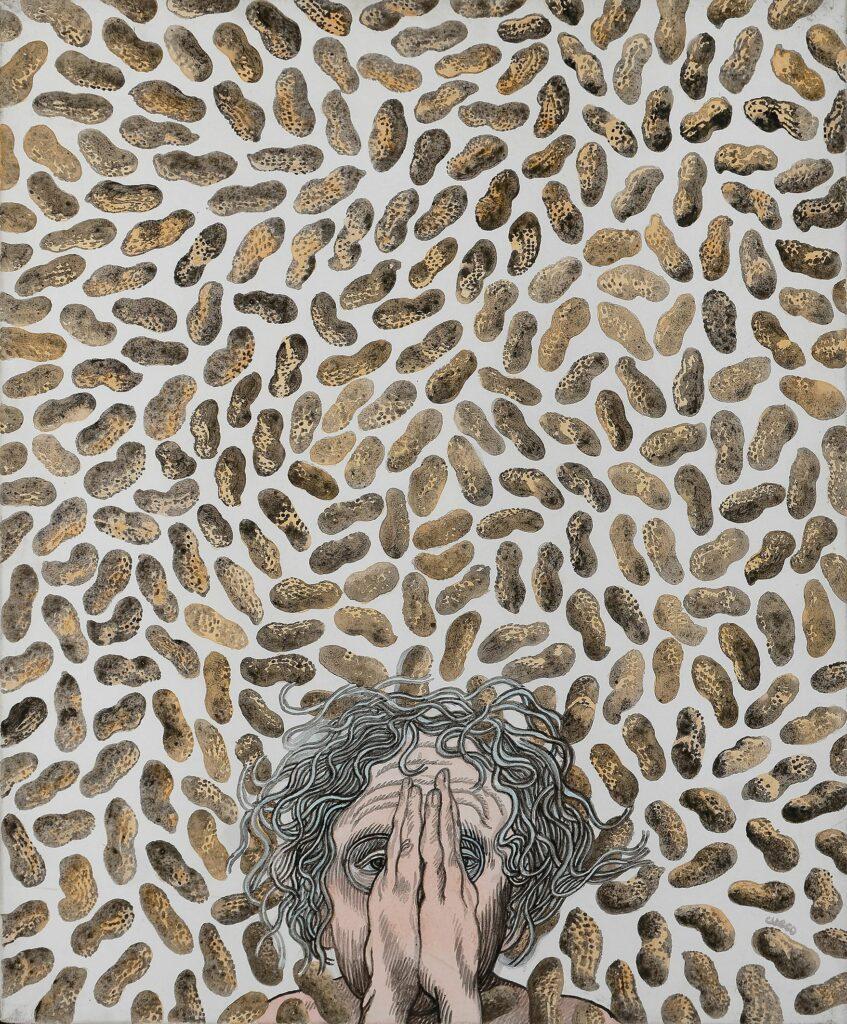 Henri Cueco, Autoportrait aux cacahuètes, 2002