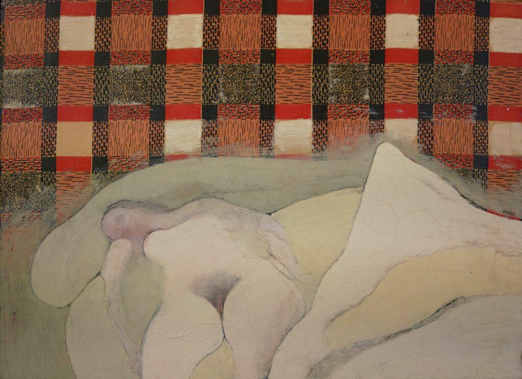 Henri Cueco, Chambre aux carreaux rouges, 1965