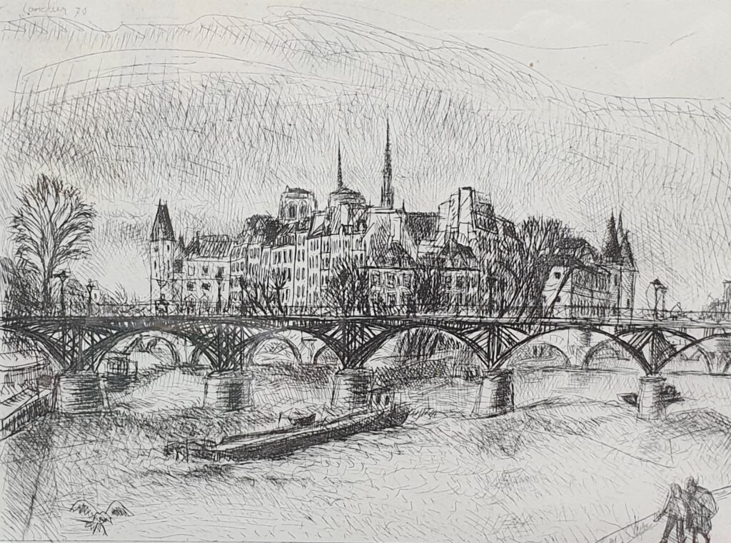 Henri Landier, Le pont des Arts et l'ile de la Cité, 1970