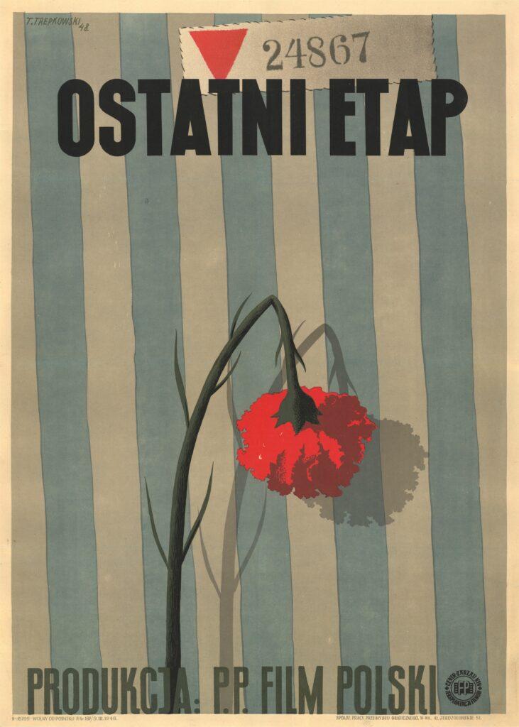 Affiche originale du film Ostani Etap [La dernière étape] de Wanda Jakubowska. Pologne, 1948