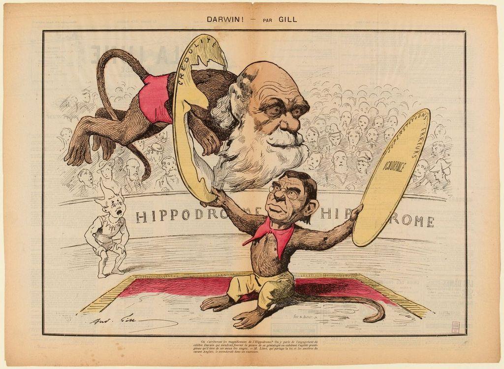 André Gill (1840 - 1885) Caricature de Charles Darwin et d'Émile Littré - La Lune Rousse/Deuxième Année - N°89 Dimanche 18 Août 1878