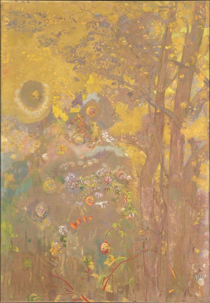 Odilon Redon, Décoration Domecy : arbres sur fond jaune