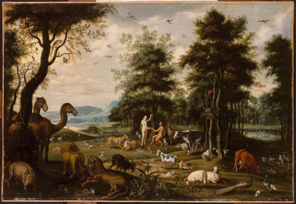 Van Oosten Isaack (1613-1661) Le Paradis Terrestre. Adam et Eve et les animaux de la Création
