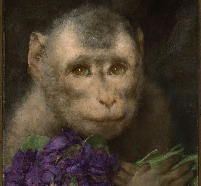 Gabriel von Max, Gruss [Greeting (Monkey with Bouquet)], 1901-1915