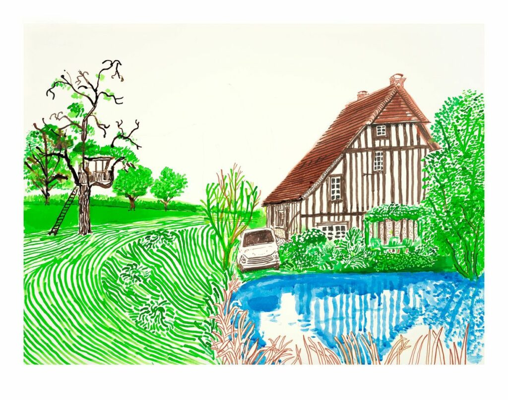 David Hockney, In Front of House Looking East, 2019