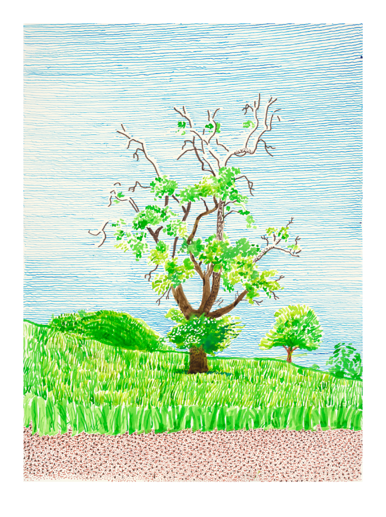 David Hockney, Hawthorn Bush in Front of a Very Old and Dying Pear Tree, 2019