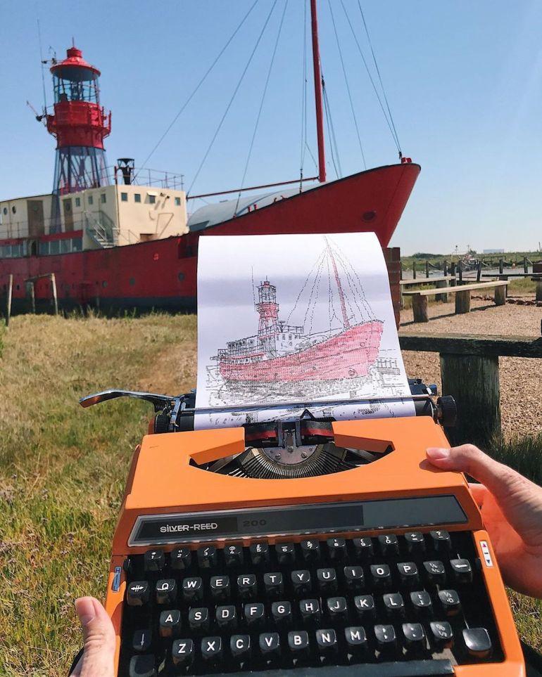James Cook, Dessin d'un bateau dans la marina de Tollesbury (Angleterre)