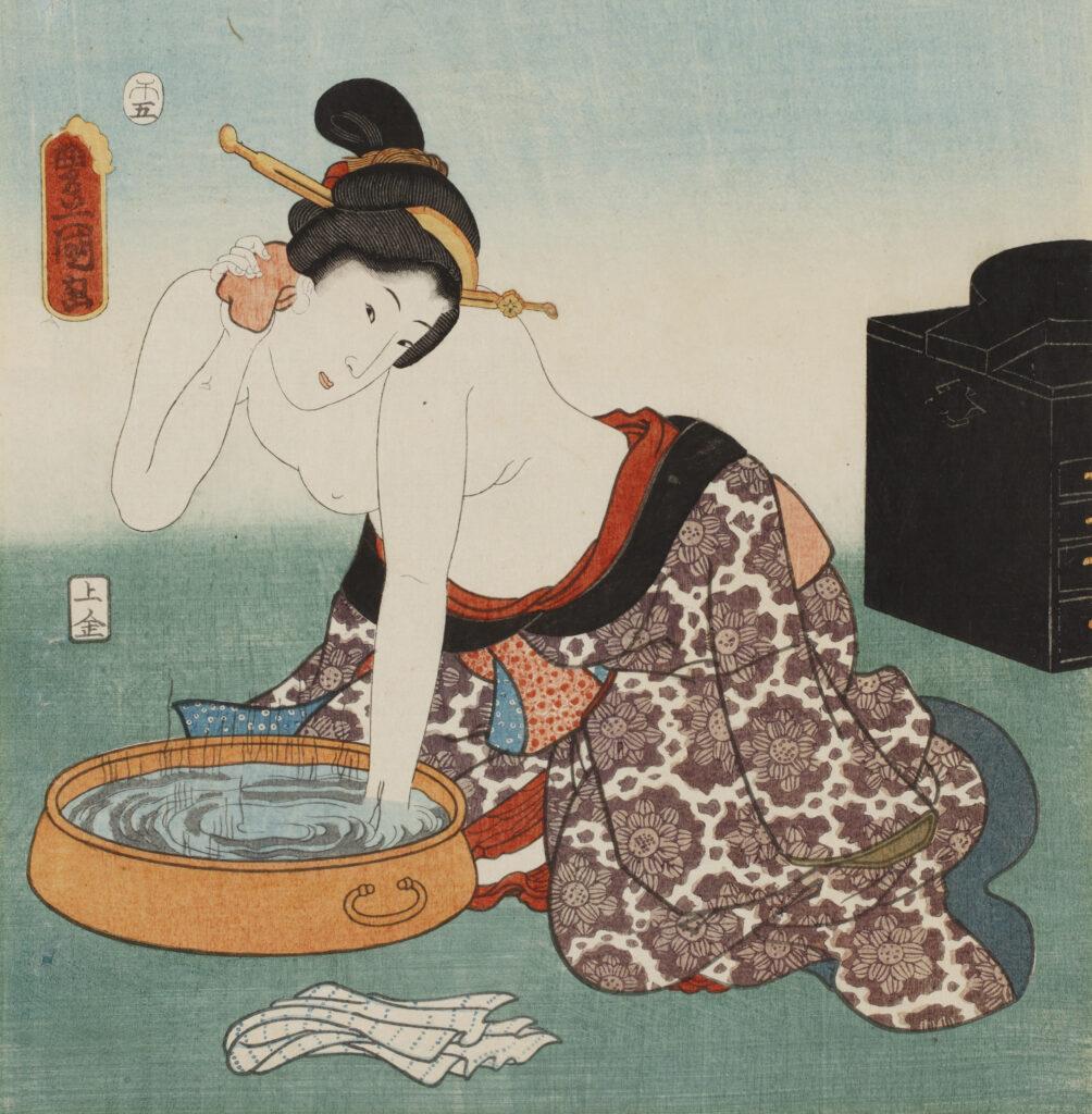 Utagawa Toyokuni III, Cent beautés de sites célèbres d'Edo Goten-yama, 1858