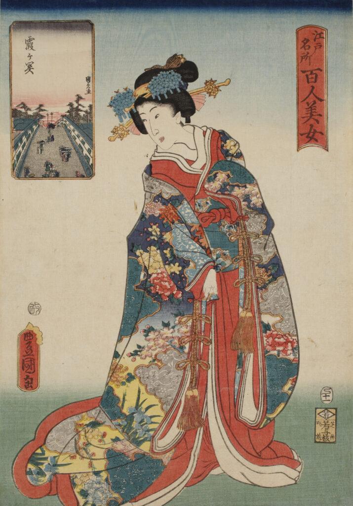Utagawa Toyokuni III, Cent beautés de sites célèbres d'Edo Kasumigaseki, 1857