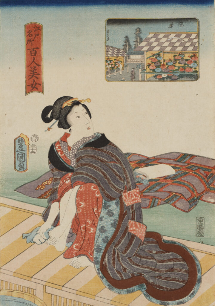 Utagawa Toyokuni III, Cent beautés de sites célèbres d'Edo Somei, 1857