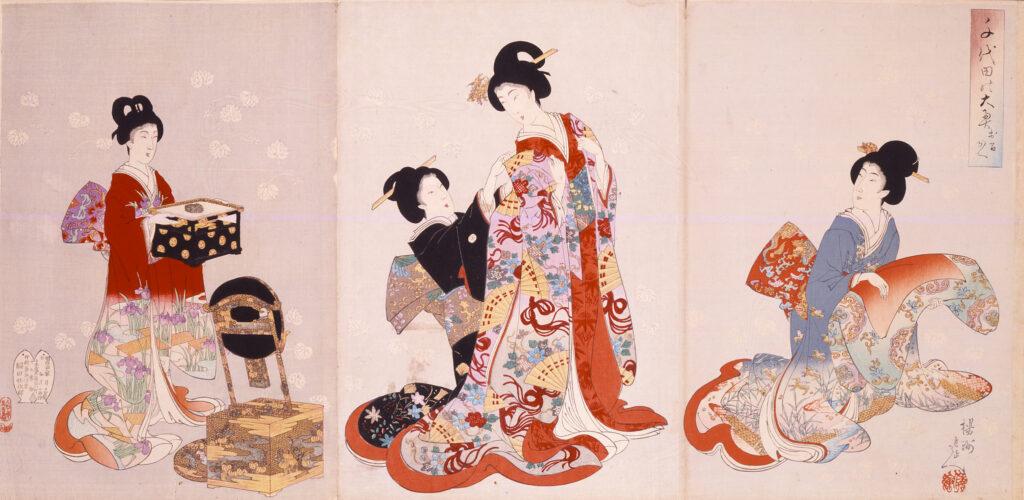 Yôshû Chikanobu, Palais intérieur à Chiyoda–L'habillage, 1894-96