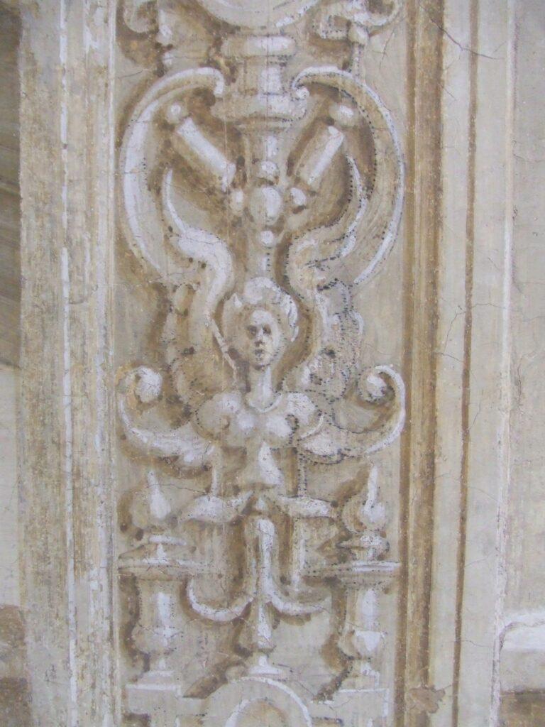 Traces de spolvero sur une frise verticale du cloître du Scalzo d'Andrea del Sarto