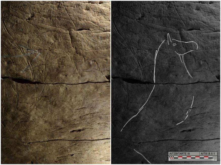 Cheval gravé trouvé à Aitzbitarte III, photo et dessin du Dr Garate