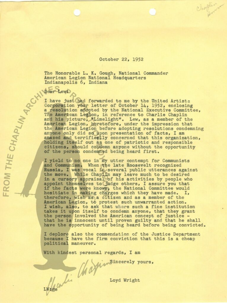 Letter] 1952 October 22 to The Honorable L.K. Gough, National Commander American Legion Loyd Wright Jr