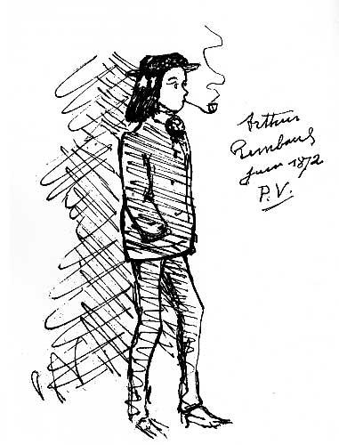 Arthur Rimbaud dessiné par Paul Verlaine en 1875
