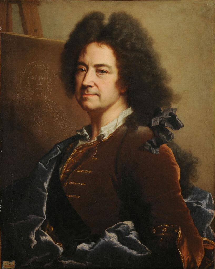Portrait de l'artiste par lui-même, devant l'esquisse du portrait de sa mère, vers 1727