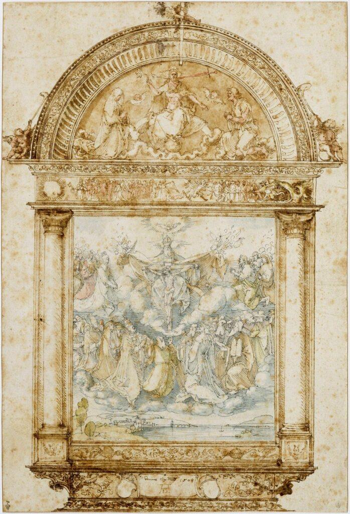 Albrecht Dürer, L'Adoration de la Sainte Trinité, projet pour le retable Landauer, 1508