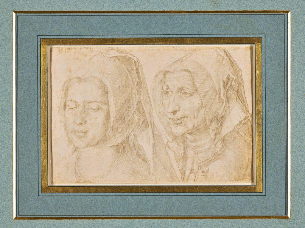 Albrecht Dürer, Feuillet de l'album de voyage aux Pays-Bas, Une jeune femme et une flle de Ter Goes