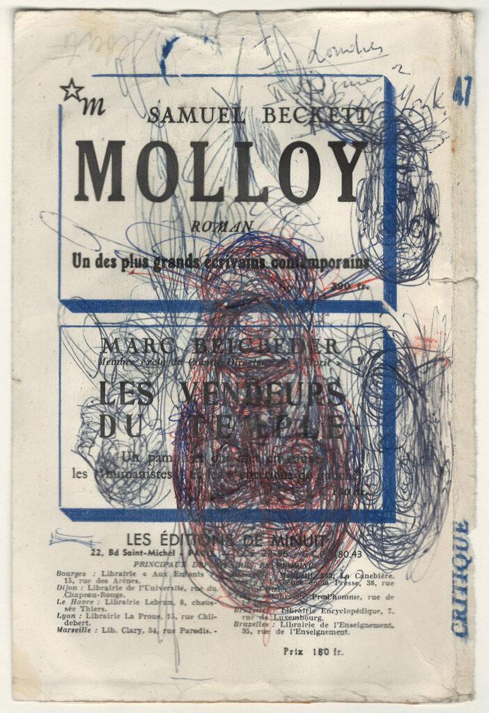 Trois têtes d'hommes et tête de profil sur page de Critique n°47, 1960