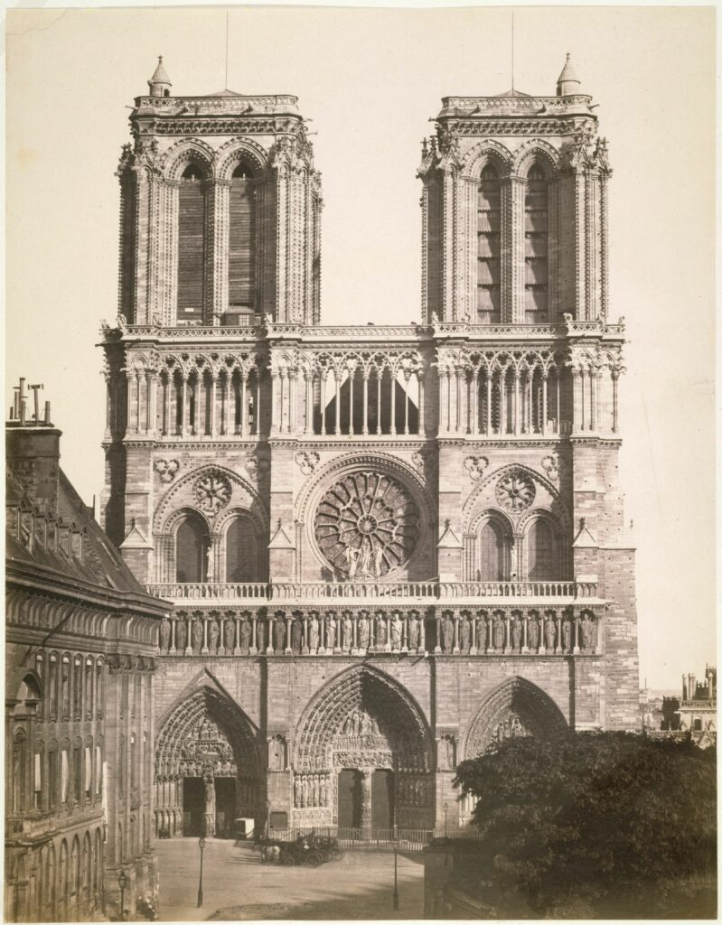 Edouard Baldus (1813-1889), Cathédrale Notre-Dame, façade ouest, 1857