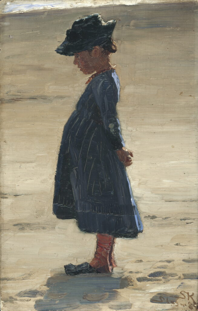 Peder Severin Krøyer, Petite fille debout sur la plage de Skagen Sønderstrand, 1884