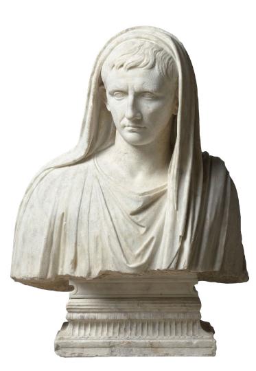 Fragment d'une statue : portrait d'Auguste en sacrifiant