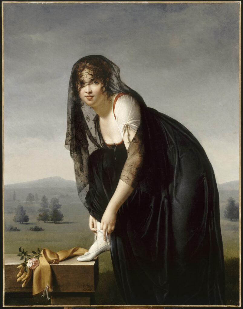 Portrait présumé de Madame Soustras laçant son chausson, Marie-Denise Villers (Nisa Villers), épouse Lemoine, 1802