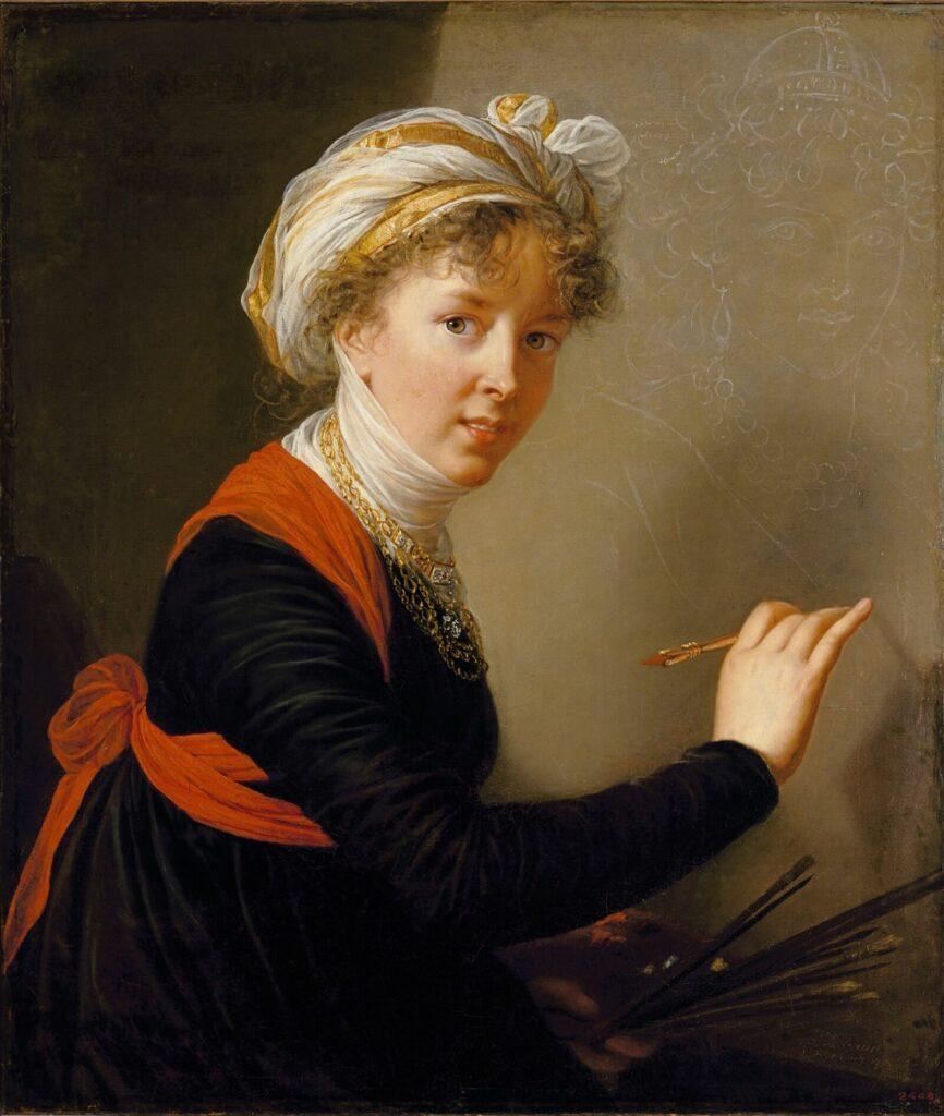 Autoportrait de l'artiste peignant le portrait de l'impératrice Maria Féodorovna, Elisabeth Louise Vigée Lebrun, 1800